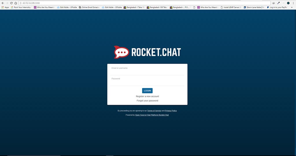 Rocket Chat Login Page