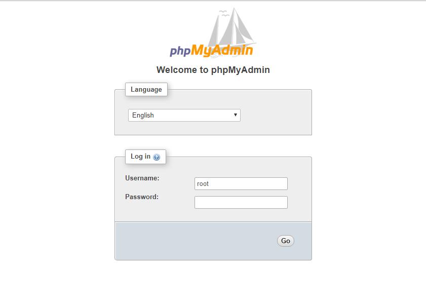 phpmyadmin page